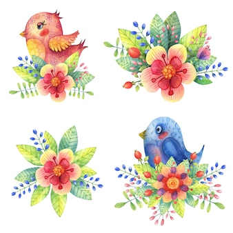 Aquarela bonita, pássaros decorativos de rosa e azul em cores brilhantes e folhas.