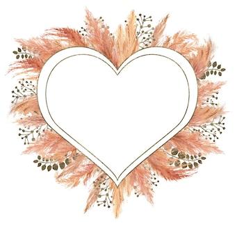 Aquarela buquê boho com grama seca de pampas e moldura geométrica prateada isolada no fundo branco. ilustração de flores para casamento ou design de férias de convites, cartões postais, impressão