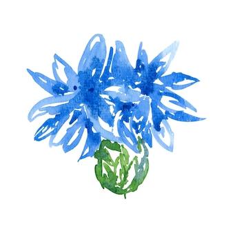 Aquarela clip art centáurea ilustração de flor azul isolada na arte botânica branca