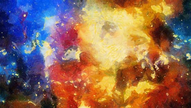 Aquarela colorida abstrata para segundo plano. espaço pintado à mão com fundo aquarela. pintura abstrata da galáxia. textura cósmica com estrelas