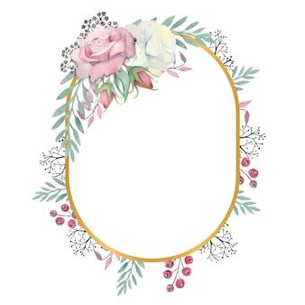 Aquarela com rosas brancas e rosa flores, folhas verdes, bagas em uma moldura oval dourada