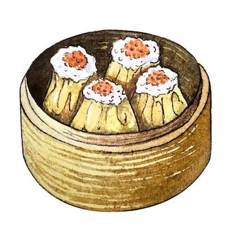 Aquarela comida asiática dim sum