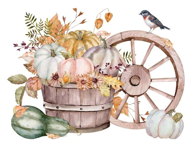 Aquarela composição rústica com abóboras, flores, pássaros e uma roda de carroça de madeira. colheita de outono. ilustração desenhada à mão isolada no fundo branco.