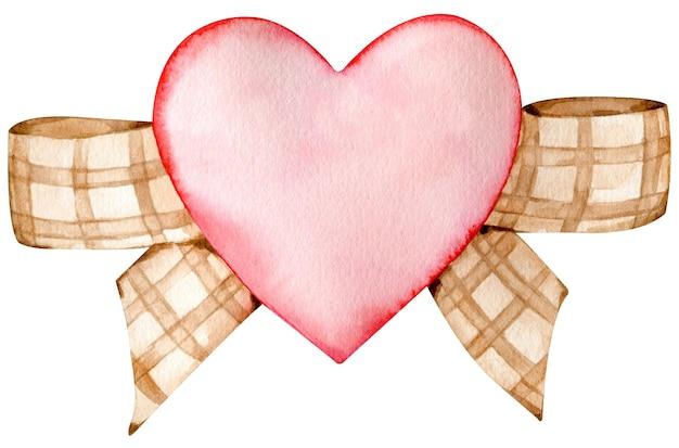 Aquarela coração vermelho decorado com um laço de fita marrom xadrez