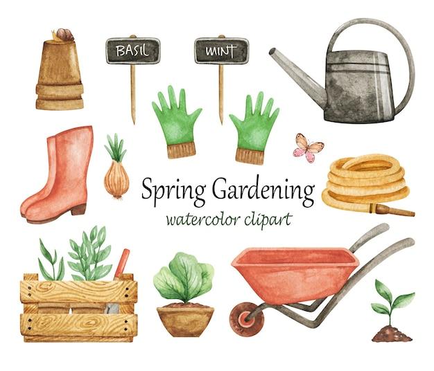 Aquarela de clipart de jardinagem da primavera, conjunto de ferramentas de jardim, carrinho de mão, luvas, regador isolado