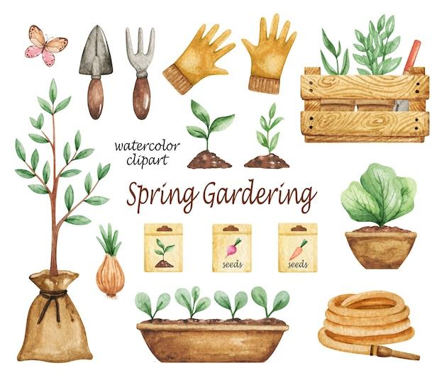 Aquarela de clipart de jardinagem da primavera, conjunto de ferramentas de jardim, plantas em vasos, pá, mudas, mangueira de jardim