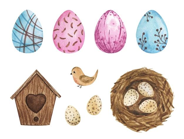 Aquarela de clipart de ovos de páscoa, decoração de páscoa, casa de pássaros, ninho, conjunto de ovos pintados, decoração de álbum de recortes