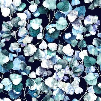 Aquarela de eucalipto ramos florais sem costura folhas e ramos ervas