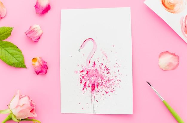 Aquarela de flamingo de vista superior