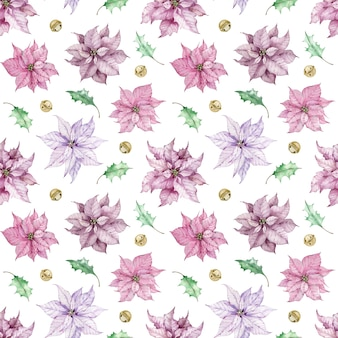 Aquarela de fundo de natal com flores rosa poinsétia, folhas verdes e sinos. padrão sem emenda de inverno.