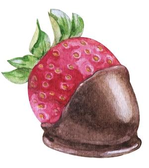 Aquarela de morango em chocolate no fundo branco