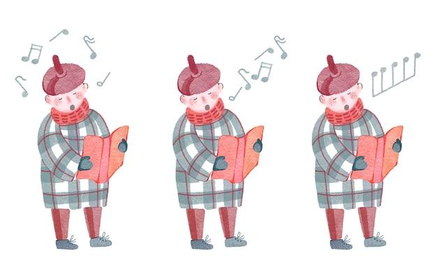 Aquarela de natal com três ilustrações de notas de menino cantando isoladas no fundo branco
