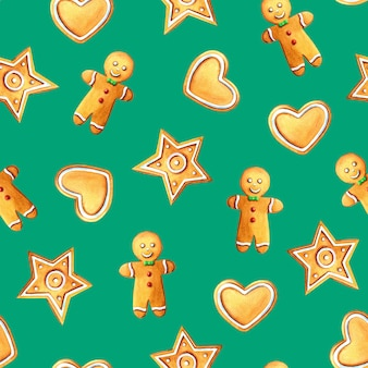 Aquarela de natal sem costura padrão com biscoito de gengibre, estrela e biscoitos de coração em verde