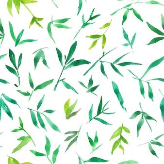 Aquarela de padrão sem emenda de folhas de bambu verde