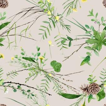 Aquarela de plantas florestais em fundo bege