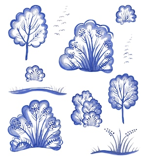 Aquarela definir árvores decorativas de inverno neve deriva arbustos pássaros isolados no fundo branco gzhel
