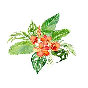 Aquarela desenhada à mão com folhas tropicais e flores coloridas em um arranjo de buquê. ilustração isolada