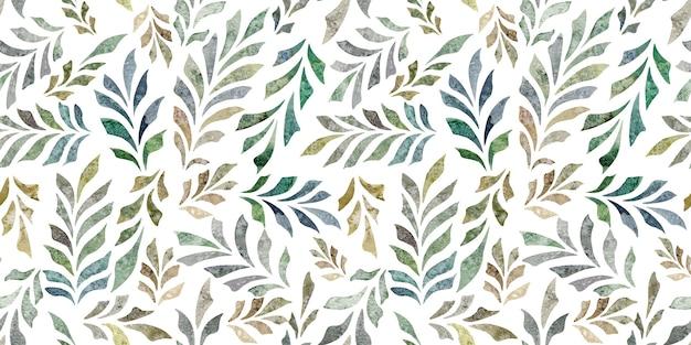 Aquarela desenhada à mão sem costura padrão verde com folhas ramos isolados no fundo branco