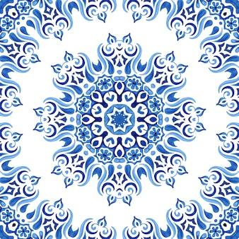 Aquarela desenhada à mão telha sem costura mandala padrão ornamental medalhão