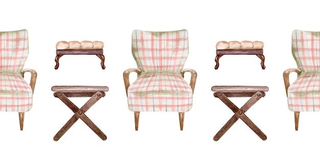 Aquarela, desenho de bancos e cadeiras macias de padrão sem emenda. elemento interior