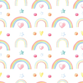Aquarela do arco-íris multicolorido em branco