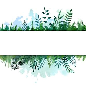 Aquarela emoldurada banner com folhas botânicas