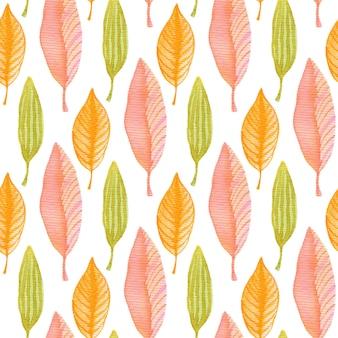 Aquarela folhas padrão sem emenda.