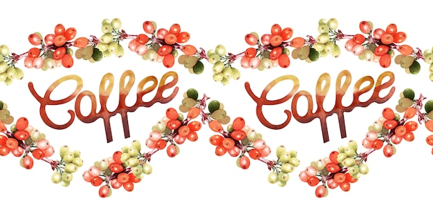 Aquarela fronteira sem costura com atributos de café e café
