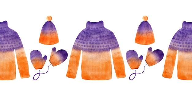 Aquarela fronteira sem costura com blusas de inverno