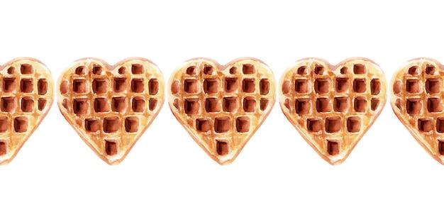 Aquarela fronteira sem costura com bolachas de várias formas. waffles de coração, waffles quadrados e redondos