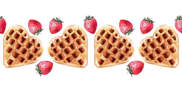 Aquarela fronteira sem costura com bolachas de várias formas. waffles de coração