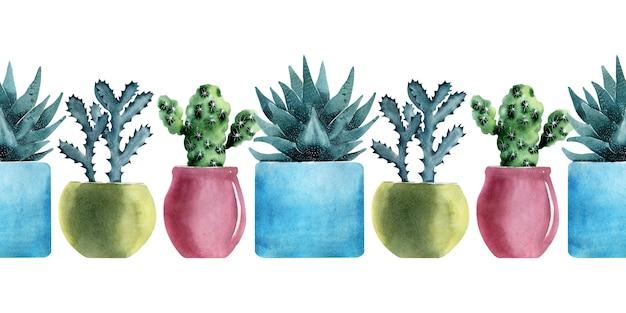 Aquarela fronteira sem costura com diferentes tipos de cactos em vasos coloridos