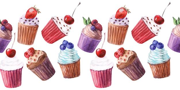 Aquarela fronteira sem costura com vários cupcakes e morangos maduros, mirtilos, cerejas e framboesas