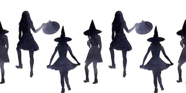 Aquarela fronteira sem emenda sobre o tema do feriado halloween.
