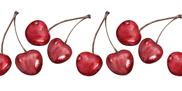 Aquarela fronteiras sem costura com cerejas maduras