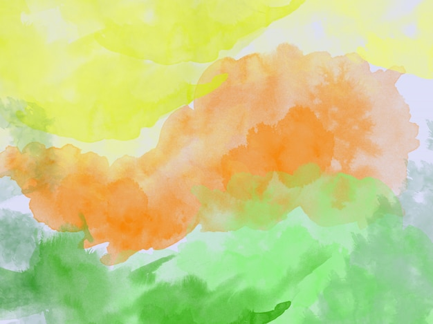 Aquarela fundo abstrato laranja amarelo verde aquarela