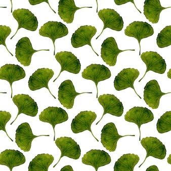Aquarela ginkgo folhas padrão sem emenda.