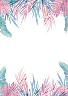 Aquarela grinalda de folhas tropicais rosa e azuis. quadro com selva, ilustrações botânicas em aquarela, elementos florais, folhas de palmeira, samambaia e outros pintados à mão.