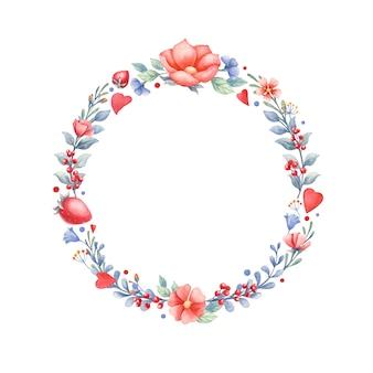 Aquarela grinalda floral com corações e bagas.