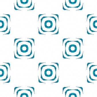 Aquarela ikat repetindo a borda da telha. azul maravilhoso boho chique design de verão. ikat repetindo design de trajes de banho. estampado radiante têxtil pronto, tecido de biquíni, papel de parede, embrulho.