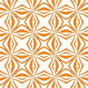 Aquarela ikat repetindo a borda da telha. design de verão chique de boho legal laranja. estampa dramática pronta para têxteis, tecido para trajes de banho, papel de parede, embrulho. ikat repetindo design de trajes de banho.