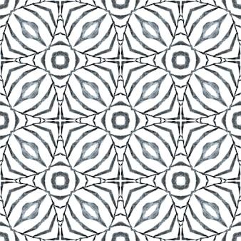 Aquarela ikat repetindo a borda da telha. projeto chique do verão do boho exótico preto e branco. ikat repetindo design de trajes de banho. estampado magnífico pronto para têxteis, tecido de biquíni, papel de parede, embrulho.