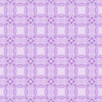 Aquarela ikat repetindo a borda da telha. projeto chique do verão do boho simétrico roxo. têxtil pronto para impressão deslumbrante, tecido de biquíni, papel de parede, embrulho. ikat repetindo design de trajes de banho.