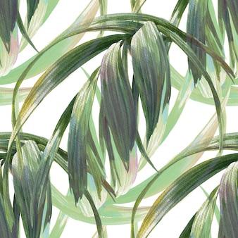 Aquarela ilustração de folha, sem costura padrão em branco