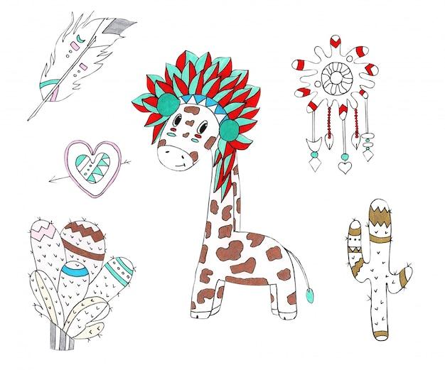 Aquarela ilustração de uma girafa no estilo nativo