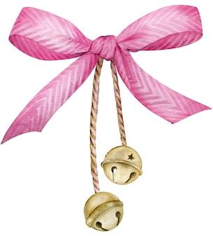 Aquarela laço listrado rosa com sinos dourados. ilustração de natal e ano novo isoated no fundo branco.