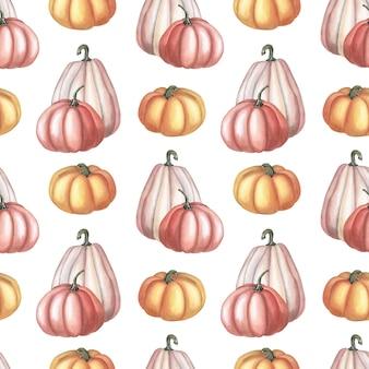 Aquarela laranja, abóbora rosa sobre fundo branco. padrão sem emenda de outono.