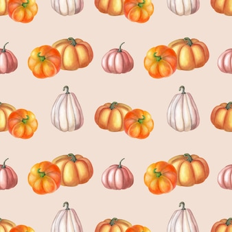 Aquarela laranja, abóbora rosa sobre fundo rosa. padrão sem emenda de outono. projeto de aquarela botânica de vegetais. arte de jardim para impressão, têxtil, tecido, papel de embrulho.