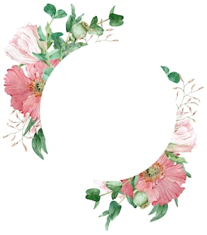 Aquarela linda grinalda floral com flores de papoula rosa e folhas verdes de eucalipto. ilustração desenhada à mão. modelo de cartão ou convite.