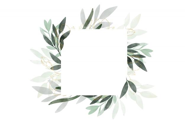 Aquarela lindo banner com folhas e galhos desenhados. design para cartões de casamento e.